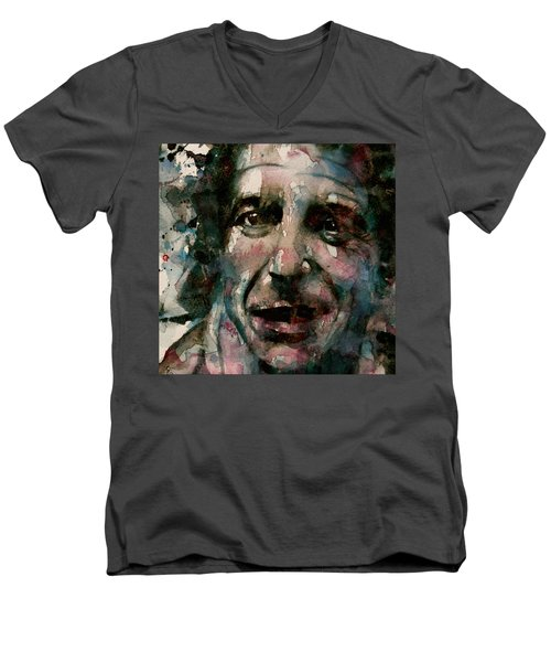 Men's V-Neck T-Shirt featuring the painting And She Feeds You Tea And Oranges That Come All The Way From China  by Paul Lovering