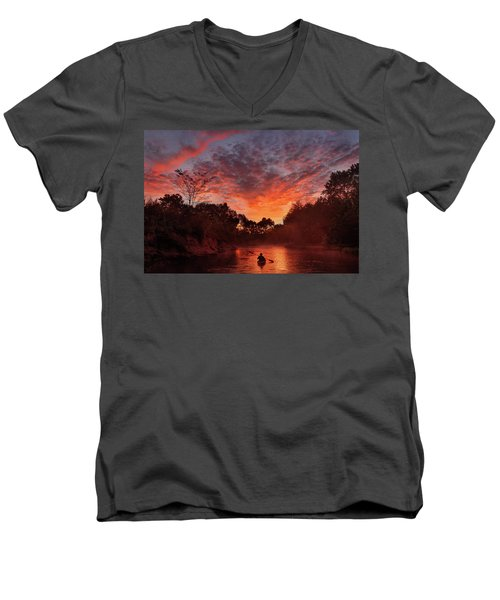 And The Day Begins Men's V-Neck T-Shirt by Robert Charity