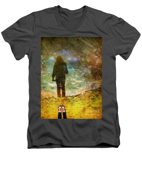 And Then He Turned Her World Upside Down Men's V-Neck T-Shirt