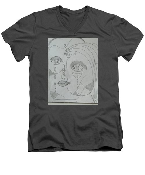 And Then They Parted Men's V-Neck T-Shirt by Sharyn Winters
