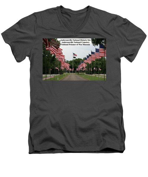 Andersonville National Park Men's V-Neck T-Shirt by Jerry Battle