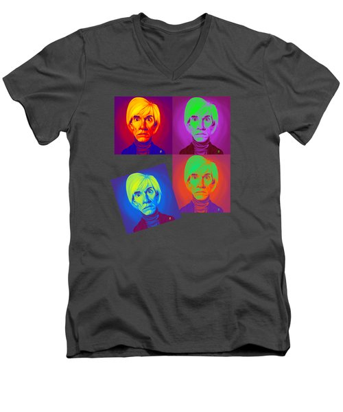 Men's V-Neck T-Shirt featuring the drawing Andy Warhol On Andy Warhol by Rob Snow