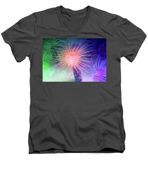Men's V-Neck T-Shirt featuring the photograph Anemone Color by Anthony Jones