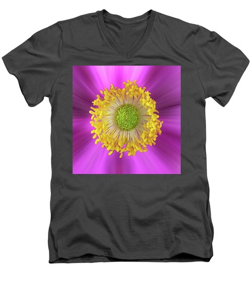 Anemone Hupehensis 'hadspen Men's V-Neck T-Shirt by John Edwards