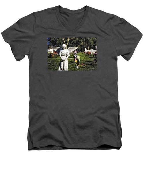 Angel 004 Men's V-Neck T-Shirt by Michael White