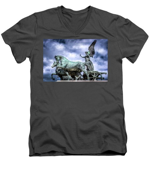Men's V-Neck T-Shirt featuring the photograph Angel And Chariot With Horses by Sonny Marcyan