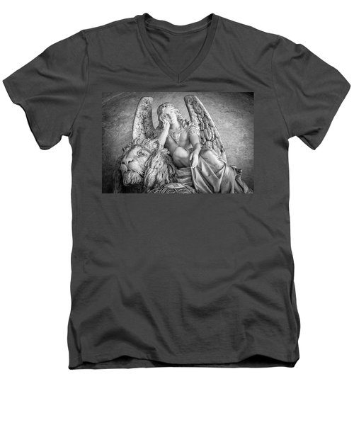 Men's V-Neck T-Shirt featuring the photograph Angel And Lion by Sonny Marcyan