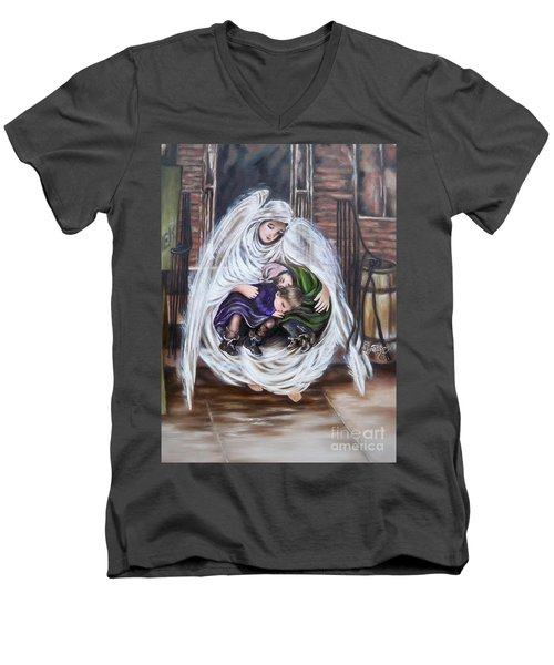 Flying Lamb Productions.        Angel And The Orphans Men's V-Neck T-Shirt