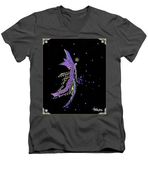 Men's V-Neck T-Shirt featuring the digital art Angel Creating Starlight by Larry Talley