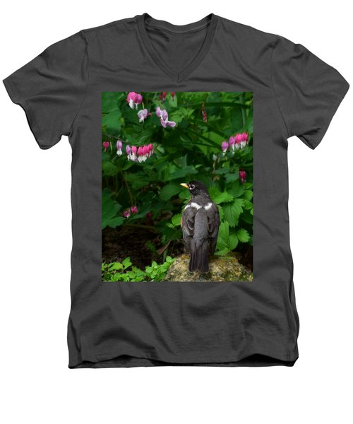 Angel In The Garden Men's V-Neck T-Shirt by Kathy M Krause
