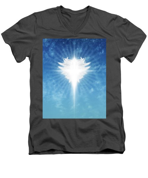 Angel In The Sky Men's V-Neck T-Shirt by James Larkin