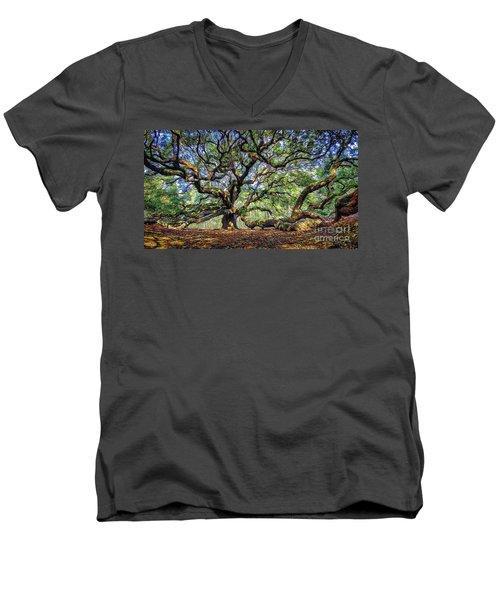 Angel Oak In Digital Oils Men's V-Neck T-Shirt