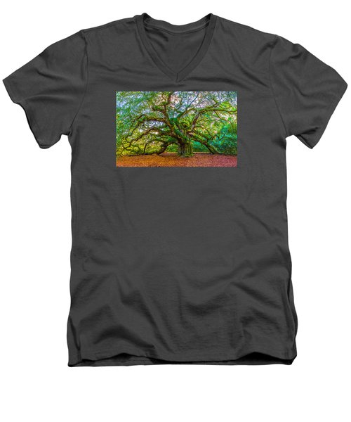 Angel Oak Tree Charleston Sc Men's V-Neck T-Shirt by John McGraw