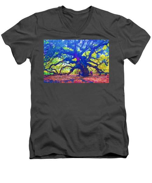 Men's V-Neck T-Shirt featuring the photograph Angel Oak Tree by Donna Bentley