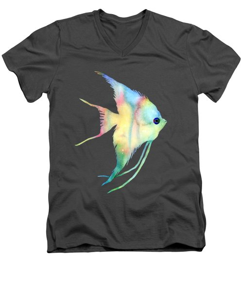 Men's V-Neck T-Shirt featuring the painting Angelfish I - Solid Background by Hailey E Herrera