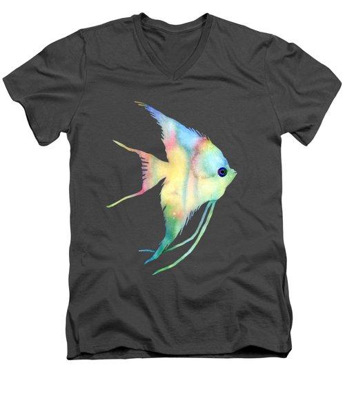 Angelfish I - Solid Background Men's V-Neck T-Shirt