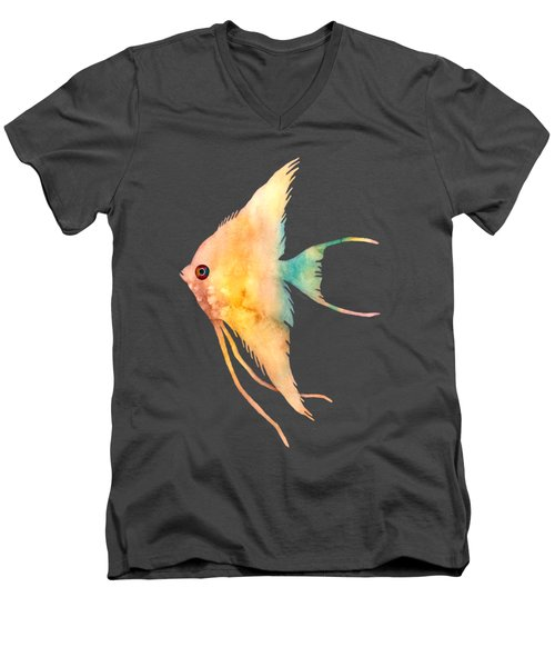 Men's V-Neck T-Shirt featuring the painting Angelfish II - Solid Background by Hailey E Herrera