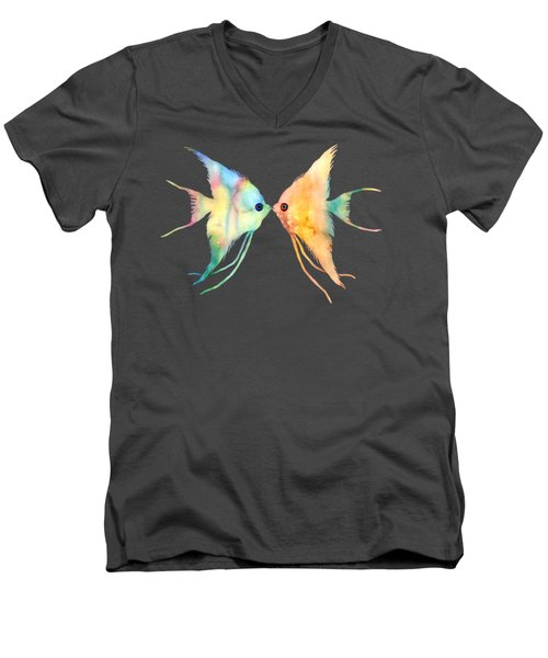 Angelfish Kissing Men's V-Neck T-Shirt by Hailey E Herrera