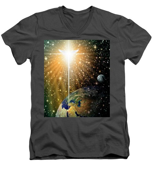 Angelic Star Over Bethlehem Men's V-Neck T-Shirt