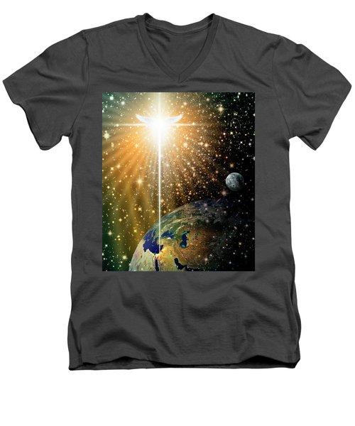 Angelic Star Over Bethlehem Men's V-Neck T-Shirt