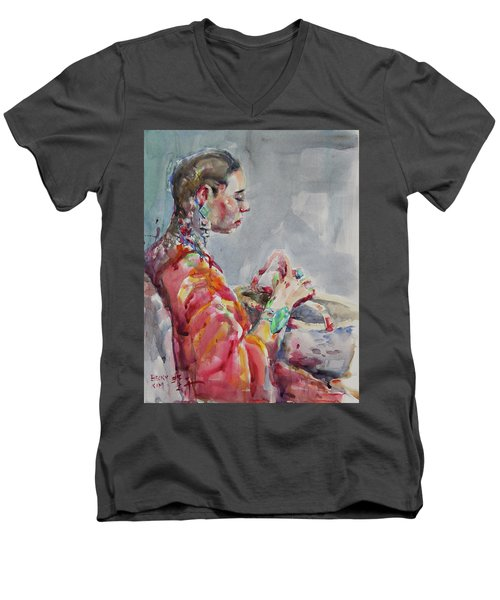 Angelica Men's V-Neck T-Shirt by Becky Kim