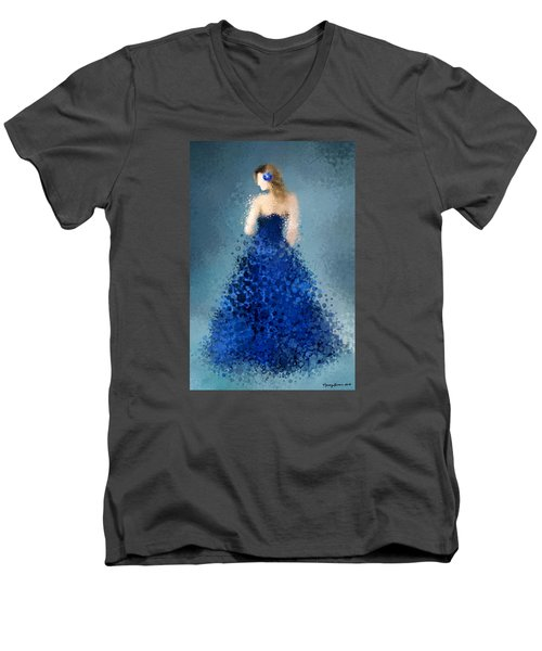 Men's V-Neck T-Shirt featuring the digital art Angelica by Nancy Levan