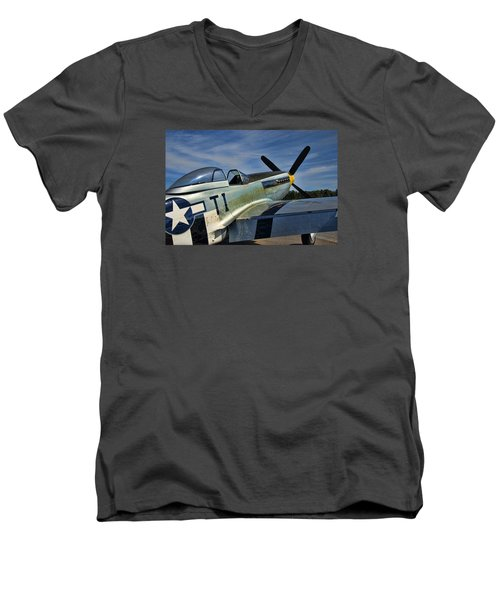 Angels Playmate P-51 Men's V-Neck T-Shirt by Steven Richardson