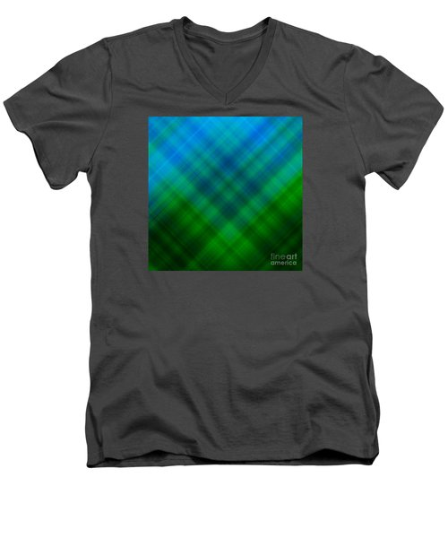 Angled Blue Green Plaid Men's V-Neck T-Shirt