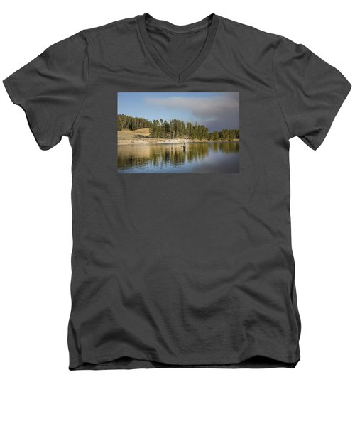 Angler Amidst Gorgeous Surroundings And A Calm River In The Yellowstone In Wyoming Men's V-Neck T-Shirt