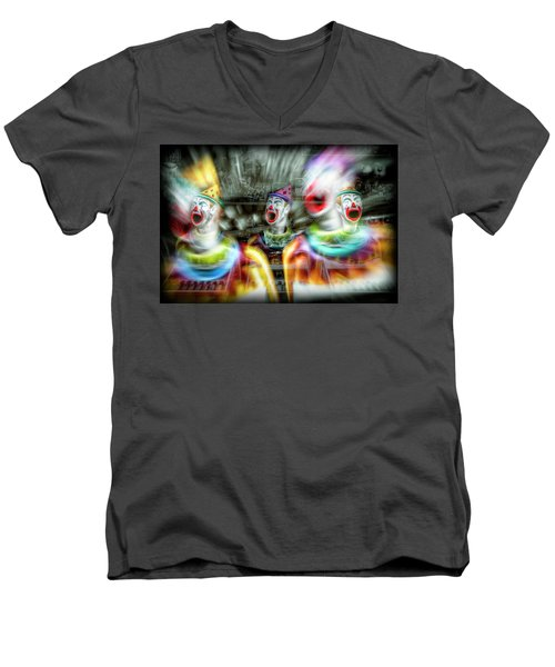 Men's V-Neck T-Shirt featuring the photograph Angry Clowns by Wayne Sherriff