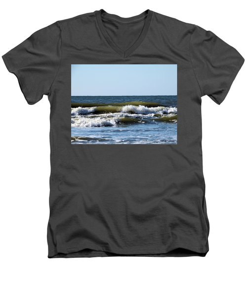 Angry Sea Men's V-Neck T-Shirt by Cathy Harper