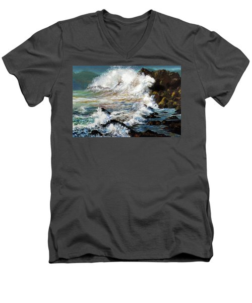 Angry Sea Men's V-Neck T-Shirt by Walter Fahmy