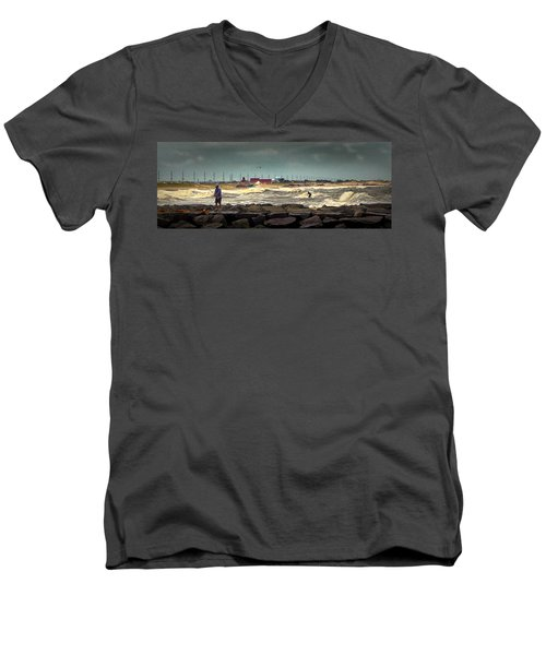 Angry Surf At Indian River Inlet Men's V-Neck T-Shirt