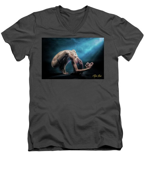 Men's V-Neck T-Shirt featuring the photograph Anguished by Rikk Flohr