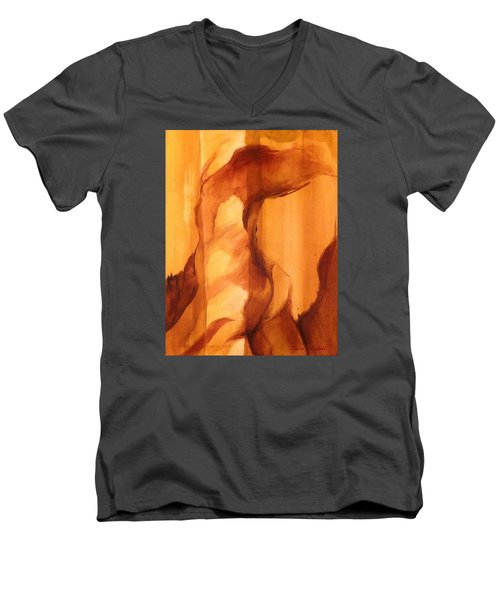 Men's V-Neck T-Shirt featuring the painting Animal by Denise Fulmer