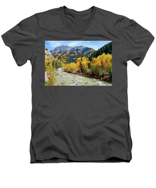 Men's V-Neck T-Shirt featuring the photograph Animas River San Juan Mtns, Co, Panorama by Kurt Van Wagner