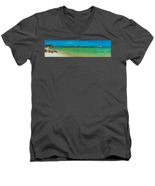 Anna Maria Island Historic City Pier Panorama Men's V-Neck T-Shirt