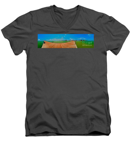 Anna Maria Island Seen From The Historic City Pier Panorama Men's V-Neck T-Shirt