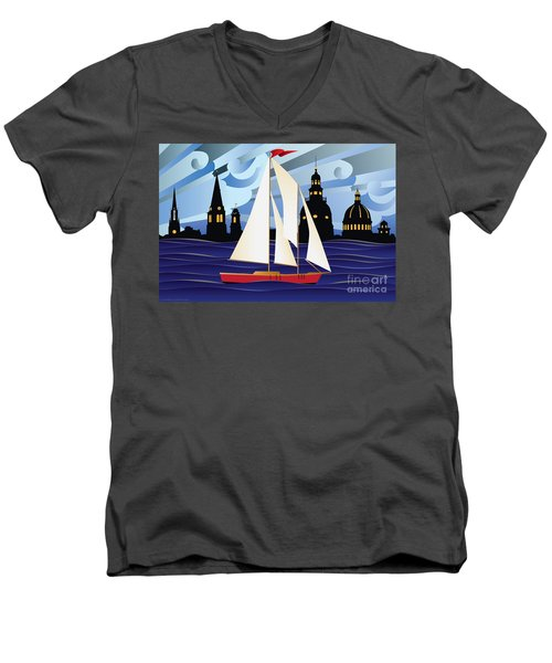 Annapolis Skyline Red Sail Boat Men's V-Neck T-Shirt