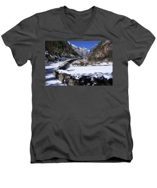 Men's V-Neck T-Shirt featuring the photograph Annapurna Circuit Trail by Aidan Moran