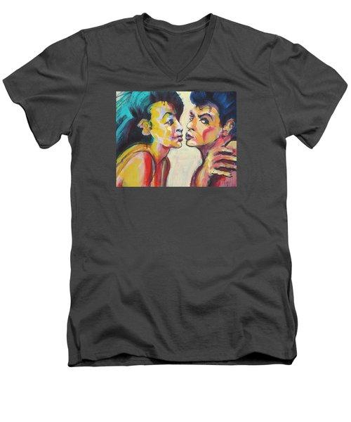 Annette And Frankie Men's V-Neck T-Shirt by Les Leffingwell