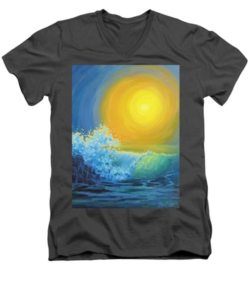 Men's V-Neck T-Shirt featuring the painting Another Sun by Karen Ilari