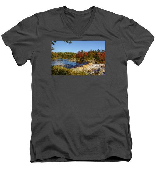 Another View Of Liscombe Falls Men's V-Neck T-Shirt by Ken Morris