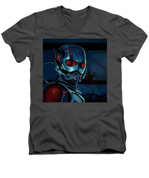Ant Man Painting Men's V-Neck T-Shirt by Paul Meijering