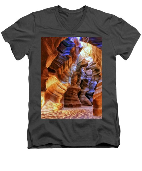 Antelope Canyon Men's V-Neck T-Shirt by Dominic Piperata