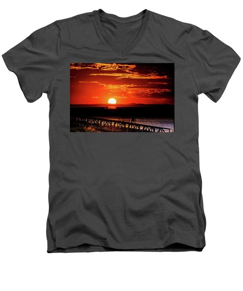 Antelope Island Marina Sunset Men's V-Neck T-Shirt