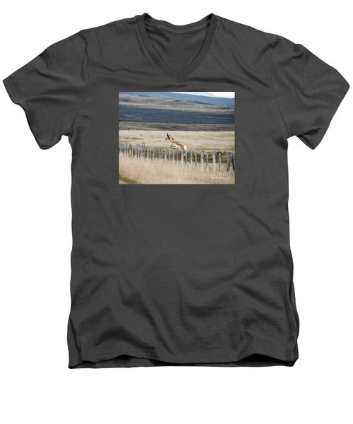 Men's V-Neck T-Shirt featuring the photograph Antelope Jumping Fence 1 by Rebecca Margraf