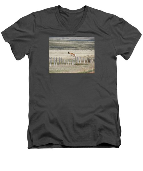 Men's V-Neck T-Shirt featuring the photograph Antelope Jumping Fence 2 by Rebecca Margraf