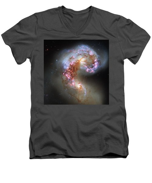 Men's V-Neck T-Shirt featuring the photograph Antennae Galaxies Reloaded by Nasa
