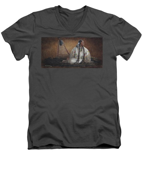 Men's V-Neck T-Shirt featuring the painting Anticipation by Kim Lockman